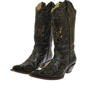 Coral Vintage Black Leather Lizard Overlay Women's Boots 10 NEW
